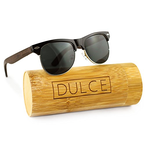 Dulce Polarized Sunglasses By Handmade Clubmaster Rose Wooden Sunglasses, UAV UAB Protective, with Bamboo Sunglasses Case