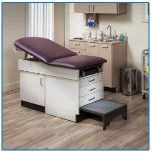 MSEC by Clinton, Family Practice Exam Table with Integrated Step Stool - Purple Gray, 72