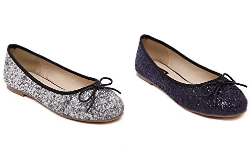 VogueZone009 Womens Closed Toe Pull On Solid Flats-Shoes with Ornament Silver-Sequin eP5tm27A