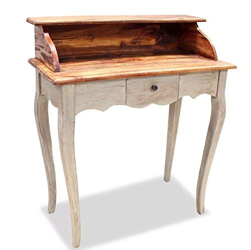 Vintage Writing Desk Small Side Table Antique Country French Furniture Secretary Bureau Solid Reclaimed Wood Industrial Farmhouse Style 1 Drawer Wooden Shabby Chic Storage Victorian Dressing Room ()