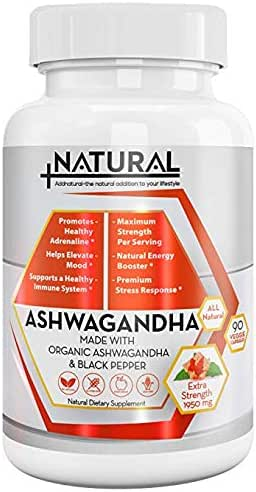 Addnatural Ashwagandha Anti-Stress Supplement: 1950mg Ashwagandha Root & Black Pepper Natural Supplement for Anxiety Relief Adrenal & Thyroid Support| Organic Energy & Mood Booster|