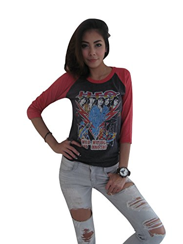 Innocent Rock - Bunny Brand Women's UFO WILD WILLING AND INNOCENT Music Rock Raglan T-Shirt (Large, Gray)