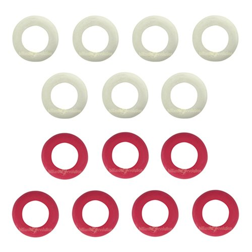 Small Rubber Rings for Bumper Pool Table: 7 Red and 7 White