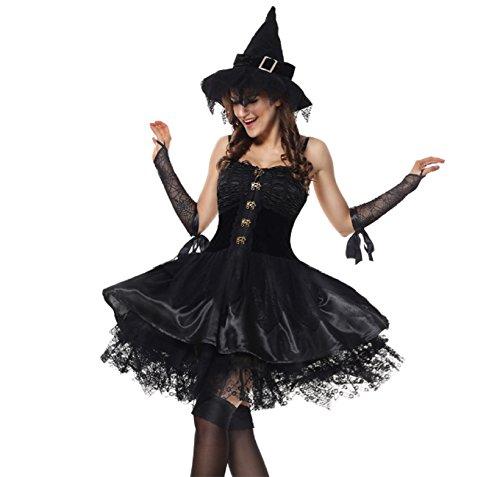 Charmian Gothic Sorceress Witch Velvet Corset Dress Halloween Cosplay (XL) (Renaissance Skirt & Hat)