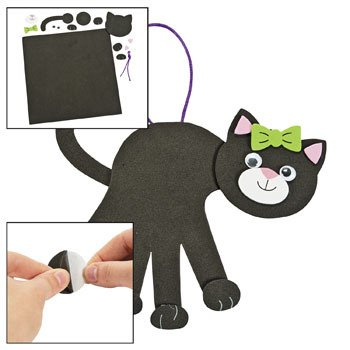 Black Cat Foam Handprint Craft Kit - Crafts for Kids and Decoration-makes 12 (Handprint Halloween Crafts)