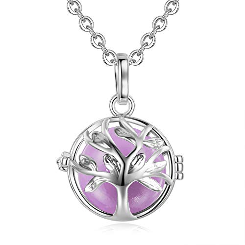 EUDORA [Life Tree Harmony Bola Angel Chime Caller 18mm Pregnancy Pendant Perfume Necklace Prayer Bell Orchid