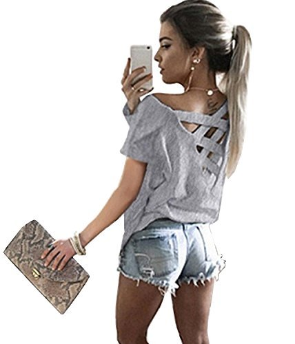 Women's Summer Cut Out Loose Shirts Criss Cross Backless Top Tee Blouse,Grey M
