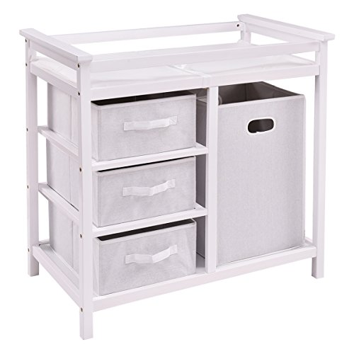 (Costzon Baby Changing Table Basket Hamper Infant Diaper Nursery Station (White))