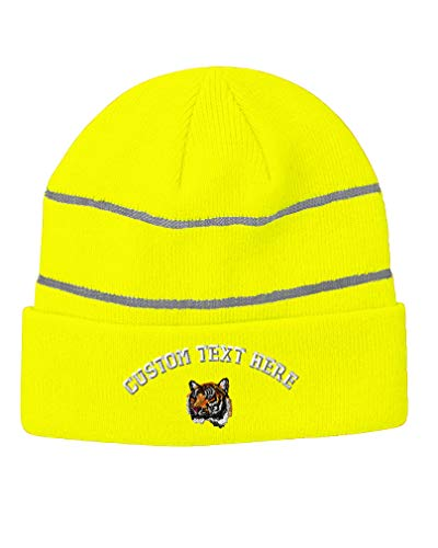 Custom Text Embroidered Tiger Cross-Stitch Unisex Adult Acrylic Reflective Stripes Beanie Skully Hat - Neon Yellow, One Size