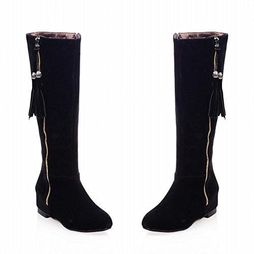 Carolbar Vrouwen Hanger Kwasten Mode Multi Rits Verborgen Sleehak Jurk Laarzen Zwart