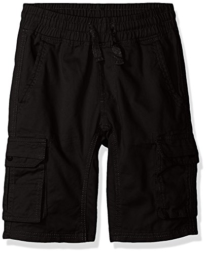 Southpole Boys' Big Twill Cargo Jogger Shorts in Basic Solid Colors, Black, Small