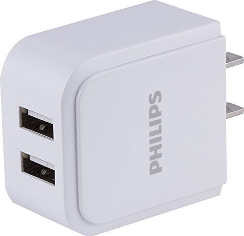 Philips Dual USB Wall Charger, 2 USB A Ports, 2.4 AMP, 12 Watt, Phone Charger, Fast Charge, Great for Travel, Multiple Devices, UL Listed, White, DLP2407/37 -
