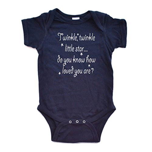 Cute Unisex Twinkle Little Star Nursery Rhyme Short Sleeve Comfy Baby Bodysuit, Newborn, Navy