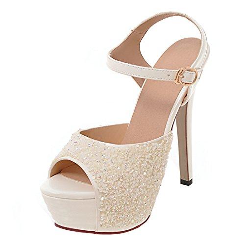 AIYOUMEI Women Ankle Strap Glitter Peep Toe Stiletto High...