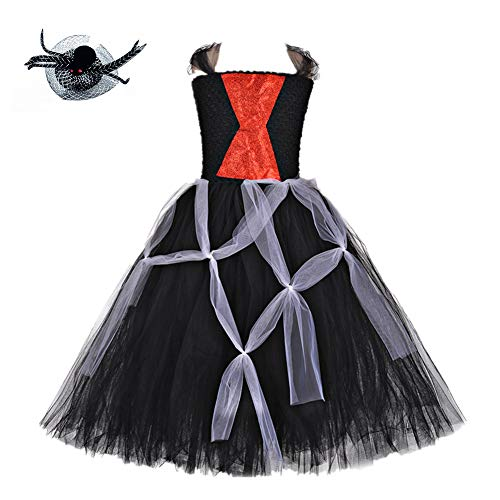Halloween Spider Witch Costumes for Girls Birthday Party Cosplay Tulle Tutu Dress for Kids 3T 4T ()