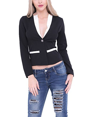 Black Fantaisie S Manteau Mesdames Collarless Contraste Fashions Manches Blazer l Islander Button Longues One Womens Trim OTZw1xq