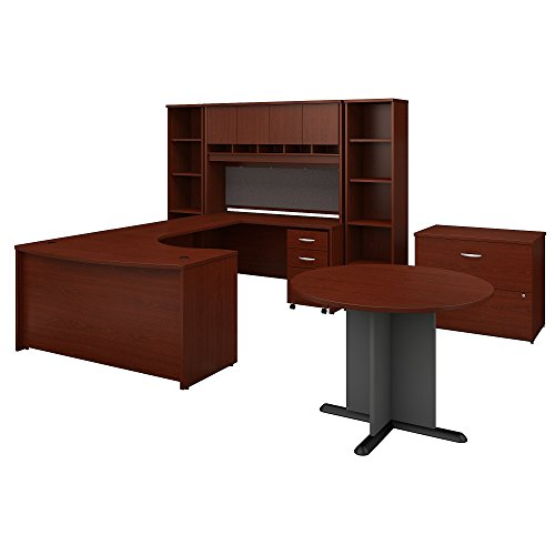 - Bush Business Furniture Series C 60W Right Handed Bow Front U Shaped Desk with Storage and Conference Table in Mahogany
