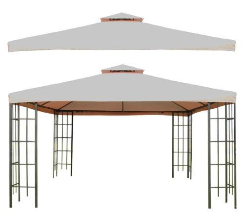 GHP Beige 10'X10' Double Tier Canopy/Gazebo Replacement T...