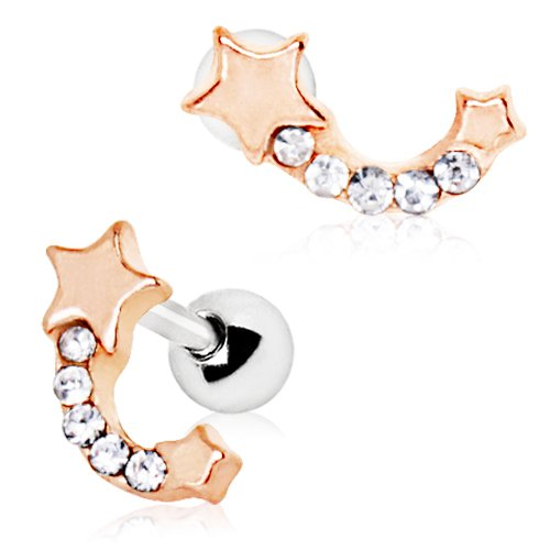Rose Gold Plated Jeweled Shooting Star Cartilage Earring ()