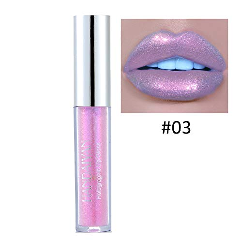 MEIQING Glitter Shimmer Women Lip Gloss Waterproof Long Lasting Bold Vivid Colorful Lipgloss Nude Lipstick Lip Kit Halloween Christmas Makeup (03)