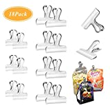 Chip Clips,Set of 18 SUKIT Bag Clips 1.5 Inches & 3 Inches Wide Stainless Steel Heavy Duty Clips for Home Kitchen and Office