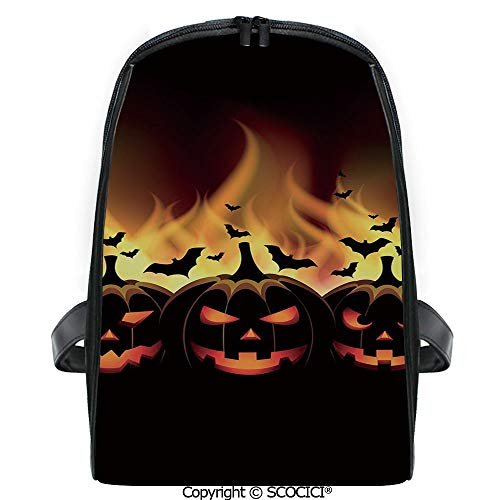 SCOCICI Casual Stylish Backpack Happy Halloween Image with Jack o Lanterns on Fire with Bats Holiday Decorative 2019 Deals! One Size]()