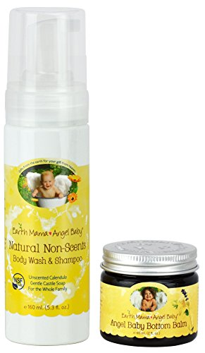Earth Mama Angel Baby Non-Scented Shampoo and Body Wash with Bottom Balm