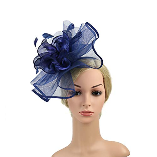 Women's Organza Church Kentucky Derby Fascinators Tea Party Bridal Hat Mesh Cocktail Headwear Feather Hats Navy_AC