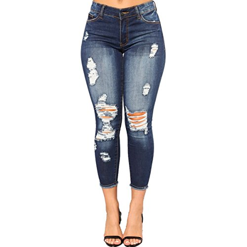 vanberfia Women's Fashion Elastic Distressed Cut Skinny High Waist Jeans (JS20196032-1, XL)