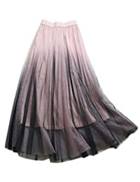 Ninmon Shares Women Basic Flared Elastic Waist Casual A-line Skater Pleated Skirt