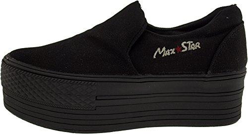 Top Shoes Dark Platform Black Maxstar Sneakers Low Span All qCEPw1v