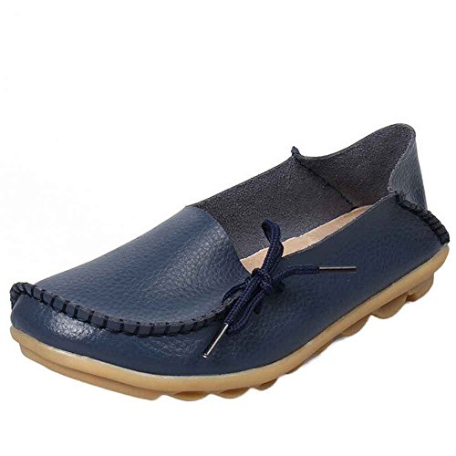 (Women's Casual Leather Shoes Loafers Peas Shoes Nurse Shoes Soft Bottom Low Cut Flat Shoes Dark Blue)