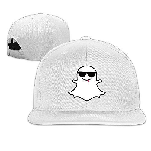 Unisex Funny Cute Snapchat Logo Snapback Fit Flat Peak Hat Cap White