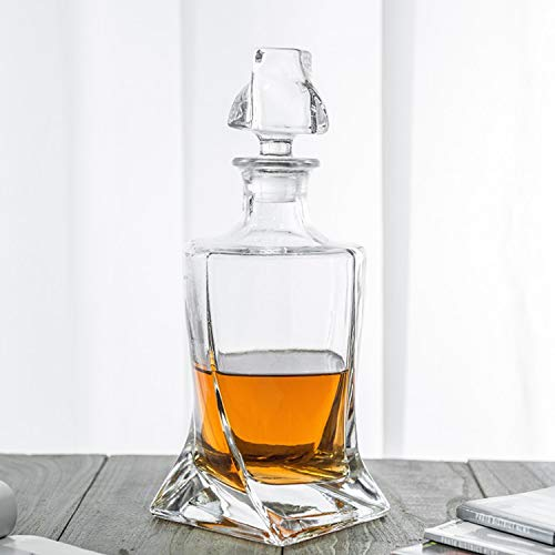 Square 26 oz Crystal Twisted Whiskey Decanter with Glass Stopper-Lead Free