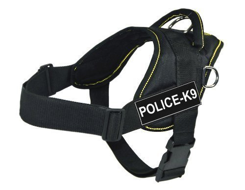 Dean & Tyler Fun Works Harness, Police-K9, Black with Yellow Trim, Small, Fits Girth Size  22-Inch to 27-Inch