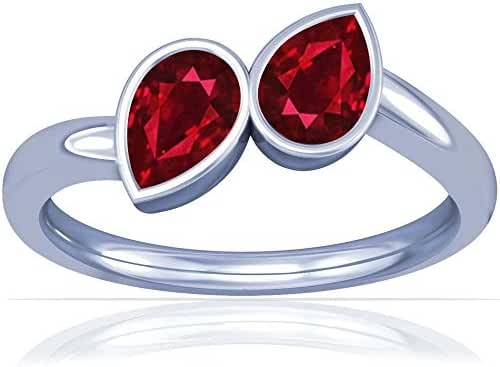 Platinum Pear Cut Ruby Solitaire Ring