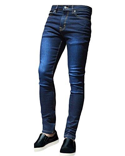 Da 20blu Elasticizzati Skinny Patchato Pantaloni Jeans Taglio Uomo Strappati Distrutto Sguardo Stile BqxPqdawnR