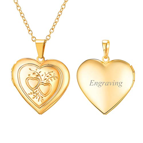 U7 Customized Necklace 18K Gold Plated Heart & Heart Photo Locket Pendant That Hold Picture, Women Girls ()