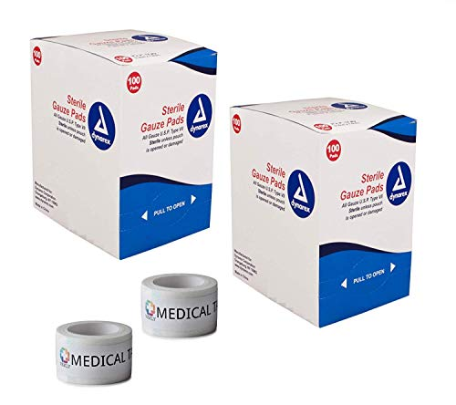 2 Pack 2x2 Individually Wrapped (Economy) 12-Ply Sterile Gauze Pads (200 Total) + 2 Rolls of Vakly Medical Tape (2x2)