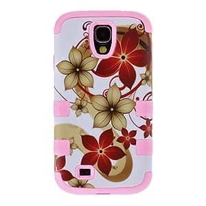 Dibujo Flores Patrón desmontable de plástico de protección y de silicona Volver Funda para Samsung Galaxy S4 i9500 , Black
