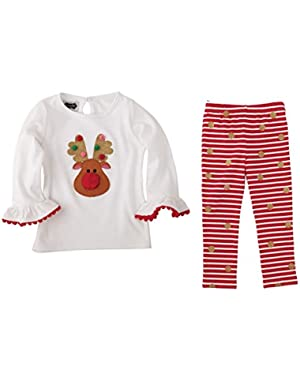 Reindeer Tunic & Glittery Striped Leggings