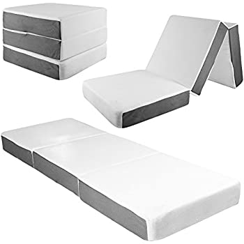Amazon Com Giantex Memory Foam Mattress Tri Folding Sofa