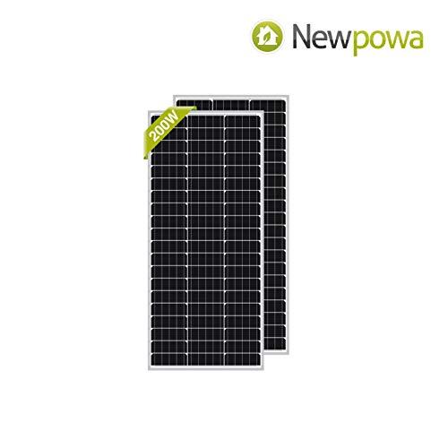 Newpowa 100 Watt Monocrystalline 100W 12V Solar Panel High Efficiency Mono Module RV Marine Boat Off Grid(2 pcs)