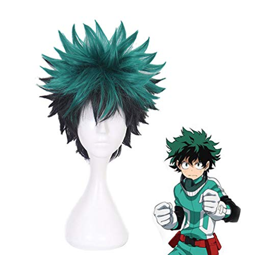 (Anime Cosplay Wig My Hero Academia Deku Izuku Midoriya Short Green Halloween Hair Wig No Lace Anti-Warping Wig Costume Carnival Party New Fashion + Free Wig)