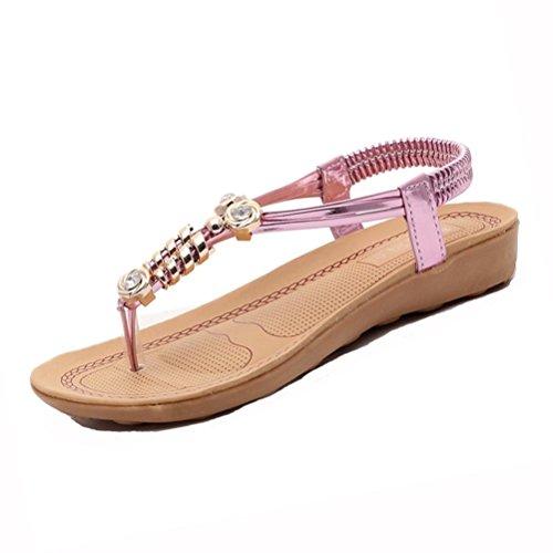 Sandalias Bohemia,Xinan Herringbone Sandals Sandalias de Espiga Zapatos Mujer Rosa