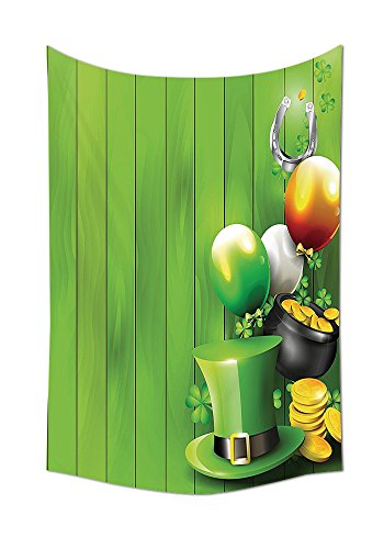 St. Patricks Day Tapestry Decor Wood Design with Shamrock Lucky Clovers Pot of Gold Coins and Horse Shoe Wall Hanging for Bedroom Living Room Dorm Fern Green