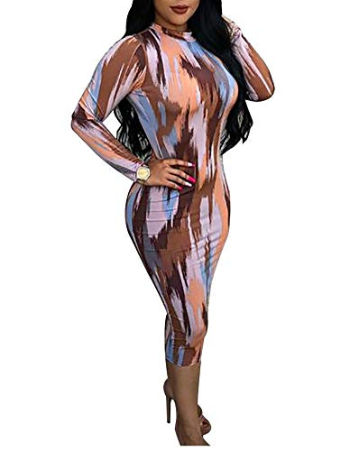 Ophestin Women Sexy Long Sleeve Turtleneck Floral Stripe Print Bodycon Slim Sheath Long Midi Pencil Dress Mutli M
