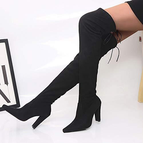 Femminile Nero Inverno Stretching Donna Lungo Alti Autunno Scarpa Faux Slim Stivaletti stivali Elecenty Scarpe Casual Stivali w4z6xZ