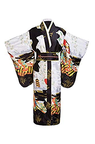 (Old-to-new Women's Silk Traditional Japanese Kimono Robe with Pagoda Print Black,One)