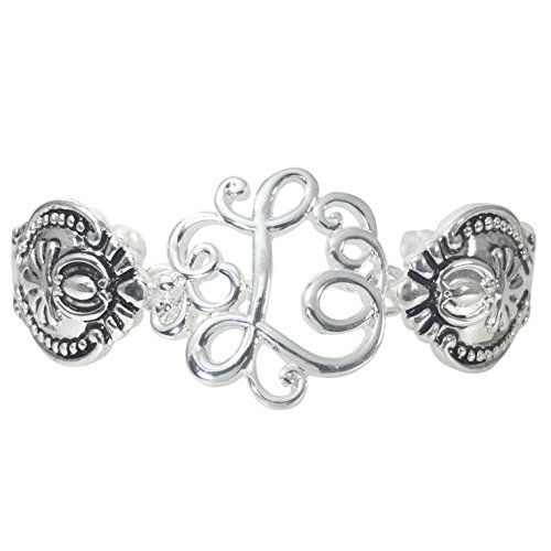 Gypsy Jewels Spoon Handle Style Monogram Initial Silver Tone Magnetic Clasp Bracelet (Letter ()
